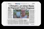 Francis Chagneau dans le journal Haute Gironde de ce jour, pour son livre « L'Estuaire ».