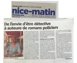 Noëlle Marchand dans le Journal Nice-Matin de ce jour, pour son livre « Mandibar ».