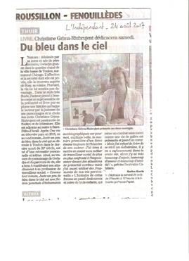 Christiane Grima-Riubrujent dans le journal L'INDEPENDANT de ce jour.