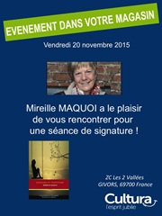 Mireille Maquoi en dédicace à la librairie du Magasin Cultura de Givors